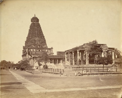 Nandi pavilion with shrine to Subrahmanya and Brihadishvara Temple, Tanjore.